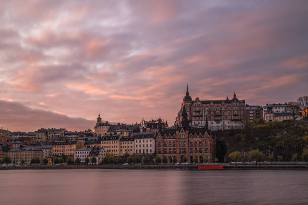 Sodermalm in Stockholm at sunset stock photo