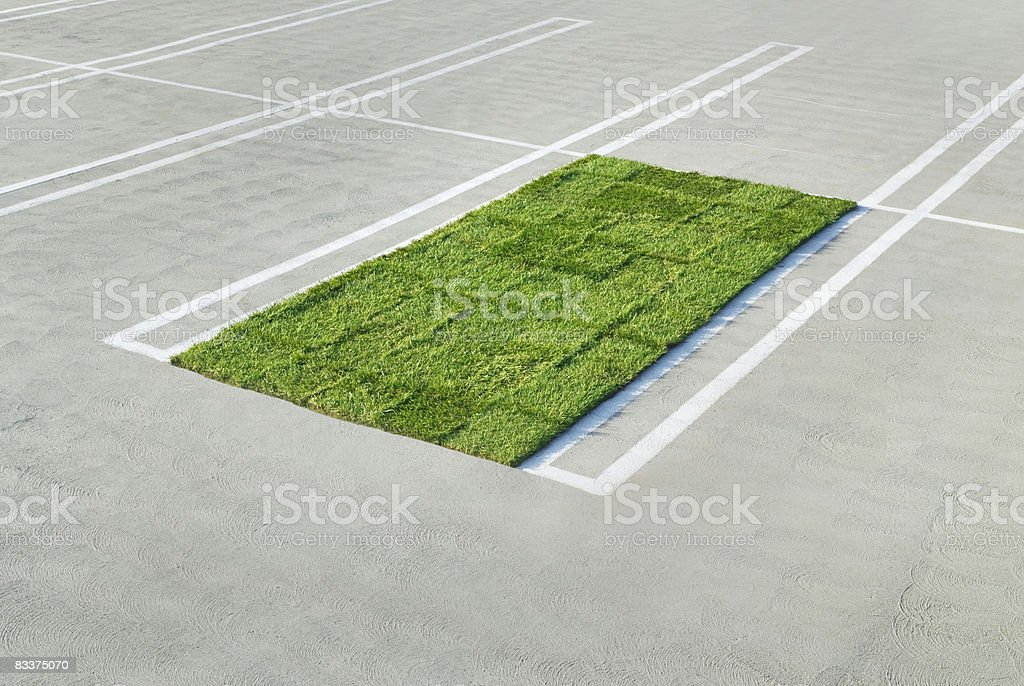 Sod/grass placed in parking stall. foto stock royalty-free