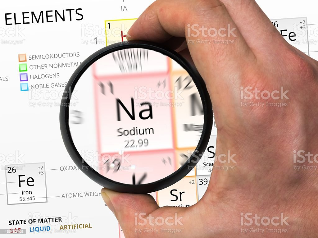 Sodium symbol. Element of the periodic table zoomed with ma stock photo