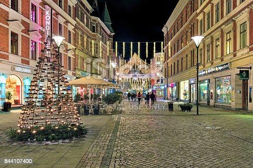 istock Sodra Forstadsgatan street in Malmo with Christmas illumination, Sweden 844107400