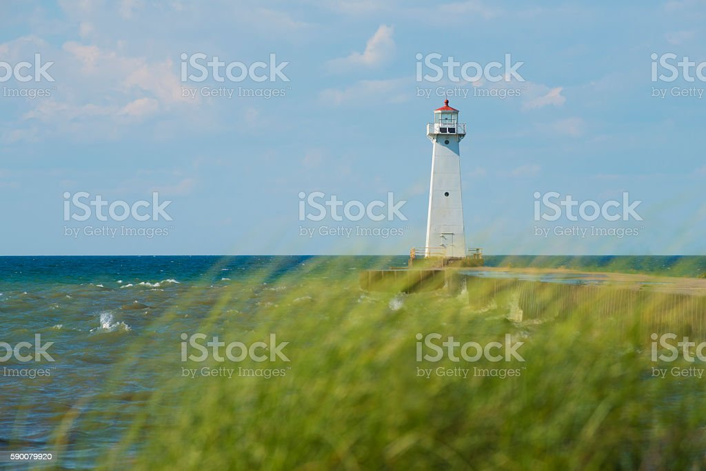 Sodus Outer Lighthouse on Lake Ontario with Marram Grass stock photo