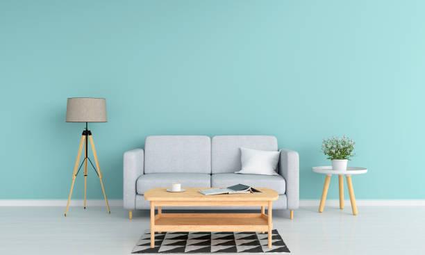sofa und lampe im wohnzimmer, 3d rendering - hellblaues zimmer stock-fotos und bilder