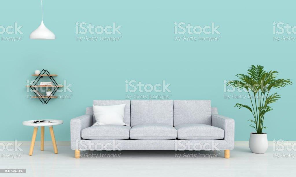 客廳的沙發和檯燈樣機, 3D 渲染 - 免版稅仙人掌圖庫照片