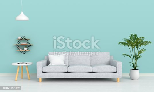 gray sofa and lamp in living room for mockup, 3D rendering