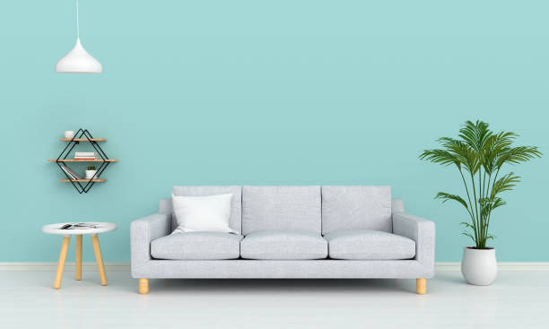 sofa and lamp in living room for mockup, 3d rendering - stile minimalista foto e immagini stock