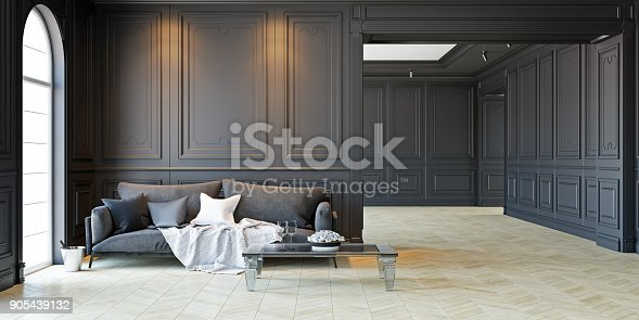 istock Sofa and table In classic black interior. 3D render illustration. 905439132