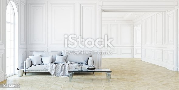 istock Sofa and table In classic white interior. 3D render illustration. 905439410