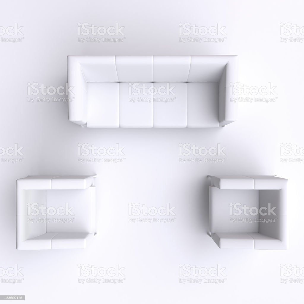 Sofa And Two Chairs Top View 3d Illustration Stock Photo More