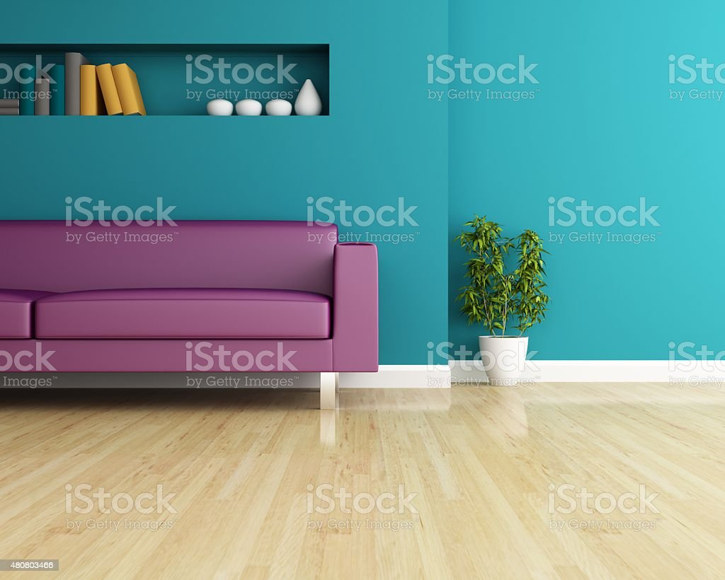 Sofa and wall decorated of interior design Sofa and wall decorated of interior design 2015 Stock Photo