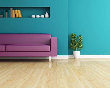 Sofa And Wall Decorated Of Interior Design Stock Photo - Download Image Now