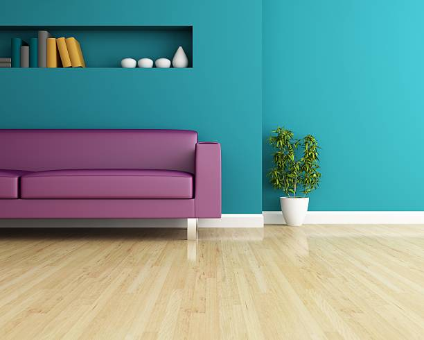 Sofa and wall decorated of interior design stock photo