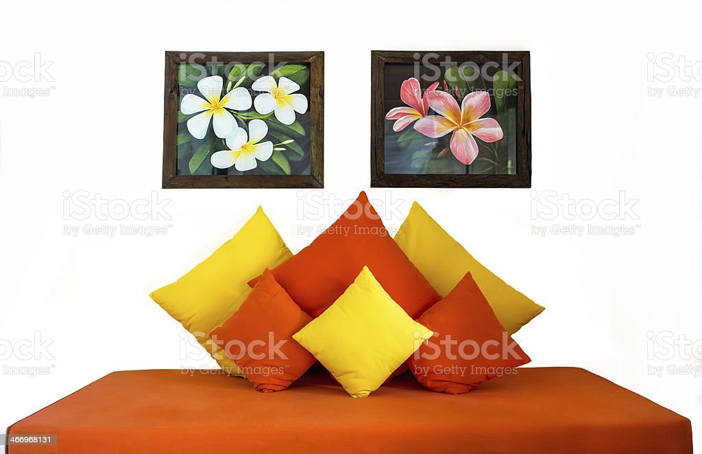 Sofa bed and pillows furniture royalty-free stock photo