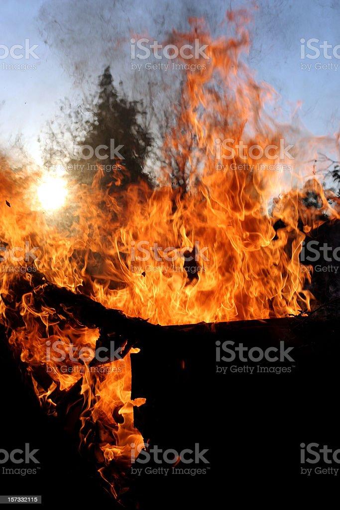 Sofa burn stock photo