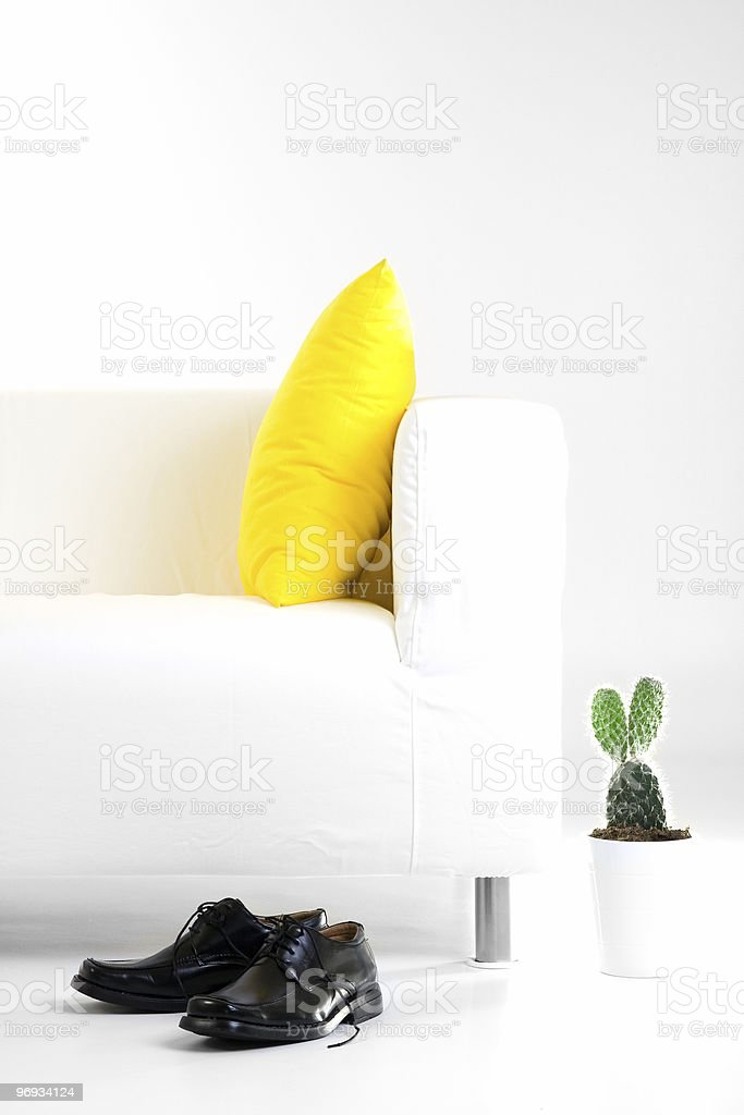 Sofa, cactus and shoes royalty-free stock photo