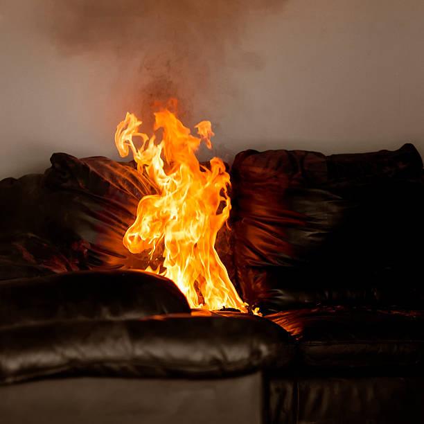 Sofa Fire stock photo