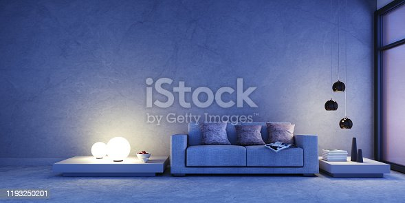 istock Sofa in apartment at night 1193250201