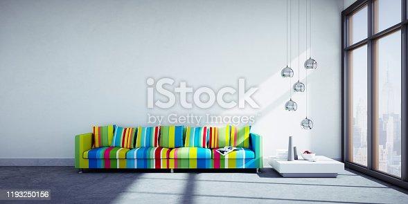 istock Sofa in big sunny apartment 1193250156
