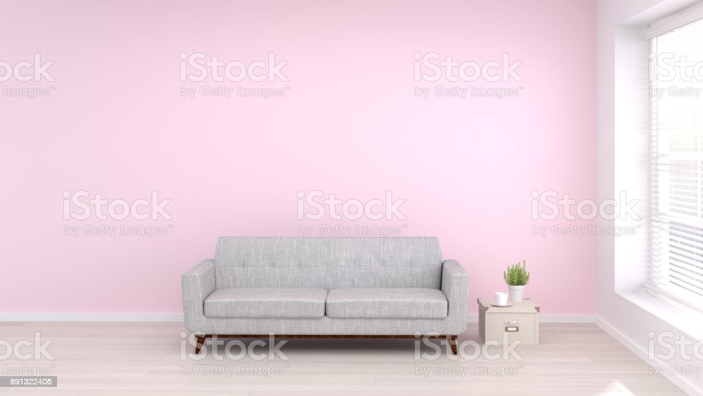 Sofa In Empty Room Living Room Interior Background3d Rendering Empty ...