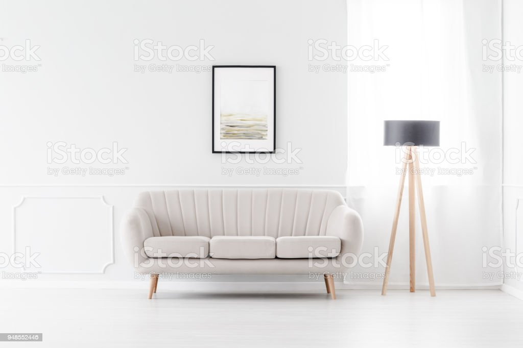 Sofa in empty white interior stock photo