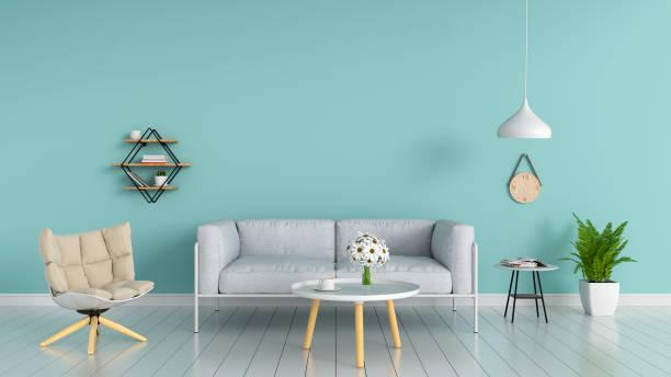 sofa im wohnzimmer, 3d rendering - hellblaues zimmer stock-fotos und bilder