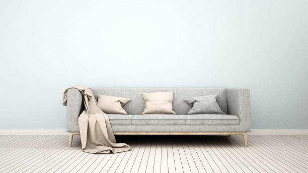 sofa im wohnzimmer für artwork - 3d rendering - hellblaues zimmer stock-fotos und bilder