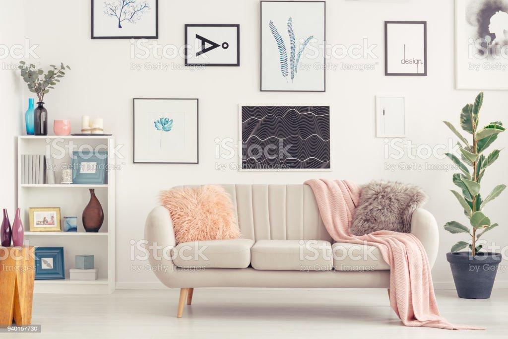 Sofa in living room stock photo