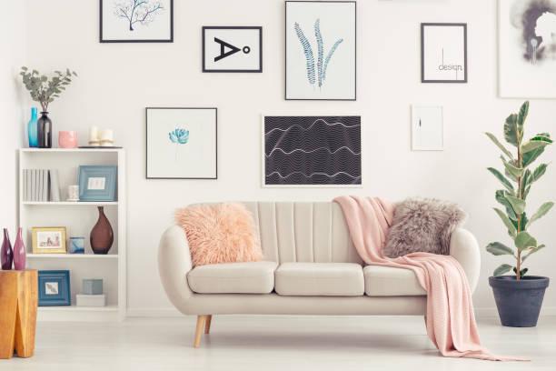 kanepe oturma odasında - koleksiyon düzenleme stok fotoğraflar ve resimler
