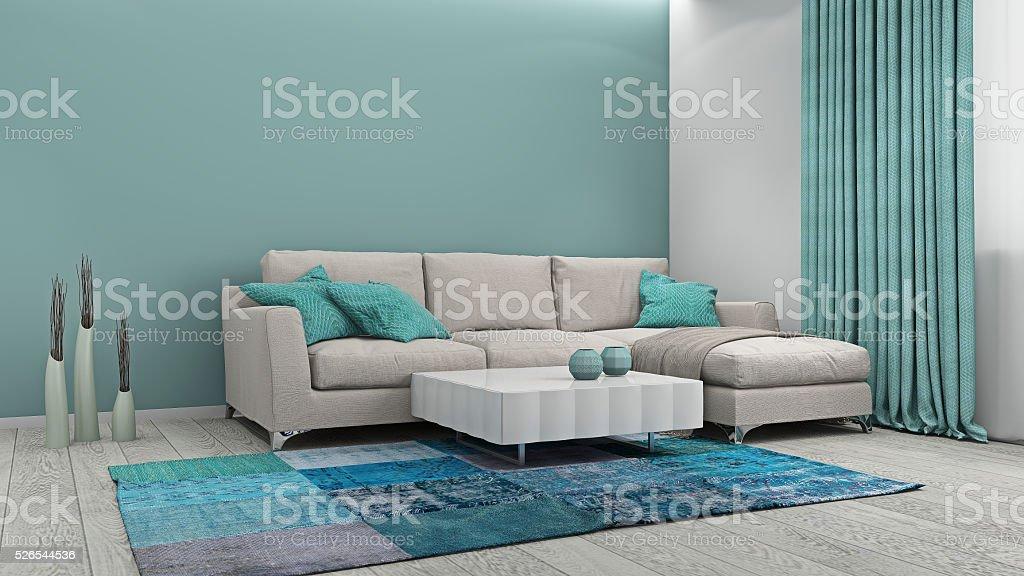 Sofa im Zimmer, 3d-Abbildung – Foto