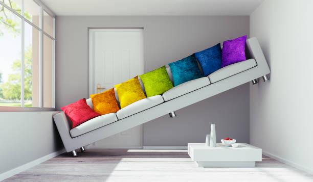 Sofa in too narrow room stock photo