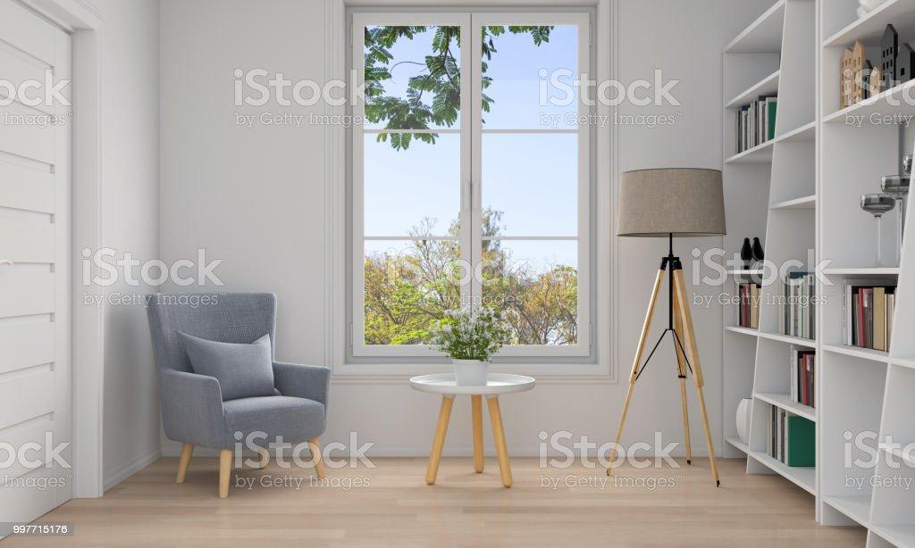 Sofa Im Weißen Wohnzimmer Interieur 3d Rendering Stockfoto ...