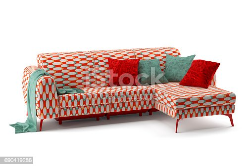 Digitally generated three-seat sofa (retro print) with pillows isolated on white background.