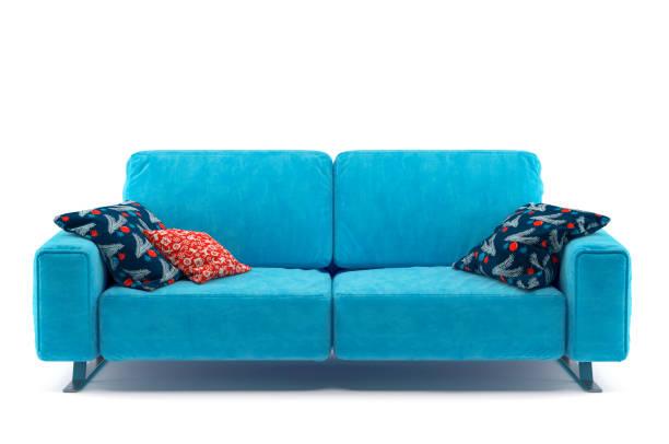 sofa isoliert auf weißem hintergrund - kanapee stock-fotos und bilder