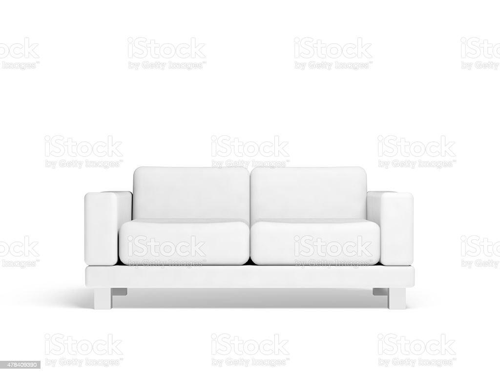 Sofá Isolado no branco vazio interior 3d fundo - foto de acervo