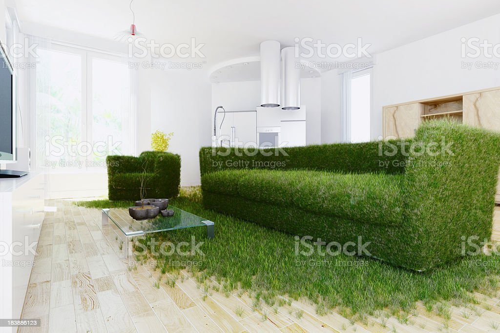 A sofa made of grass in a modern room showing green living stock photo