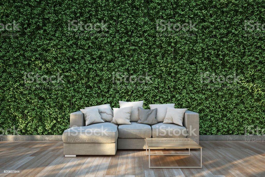 Sofa auf Holzdeck im Garten. - Lizenzfrei Baum Stock-Foto