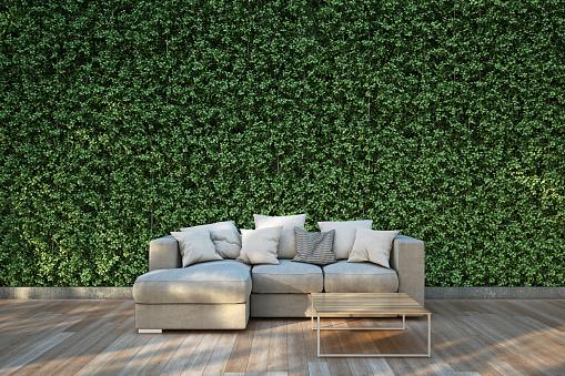 Sofa Auf Holzdeck Im Garten Stockfoto und mehr Bilder von Baum