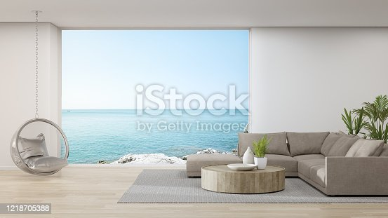 istock Sofa on wooden floor of large living room in modern house or luxury hotel. 1218705388