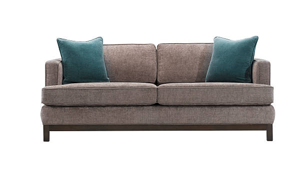 sofa Grey sofa and blue pillows isolated with clipping mask. sofa stock pictures, royalty-free photos & images