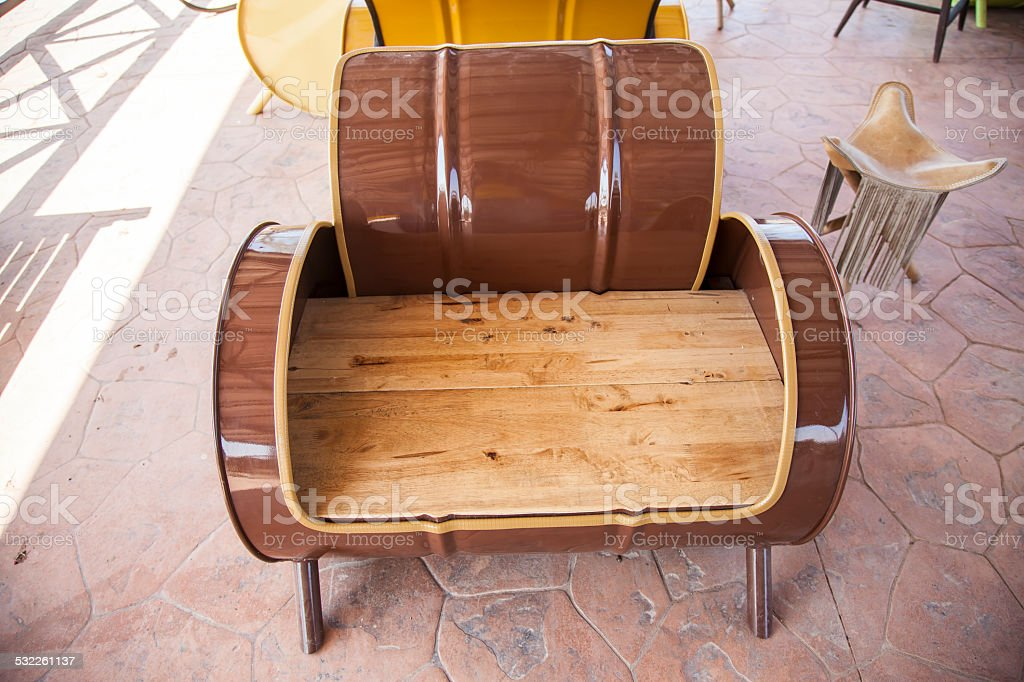 Sofa Recycled From Old Oil Tank Royalty Free Stock Photo