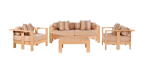 Wooden sofa set and table isolated on white background with clipping mask.