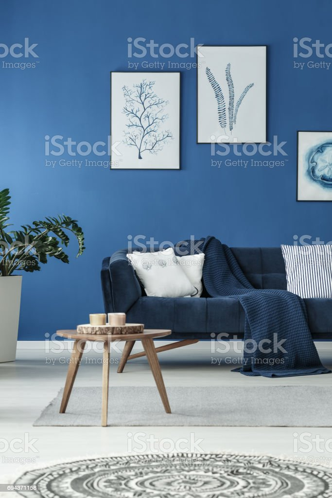 Sofa with blanket stock photo