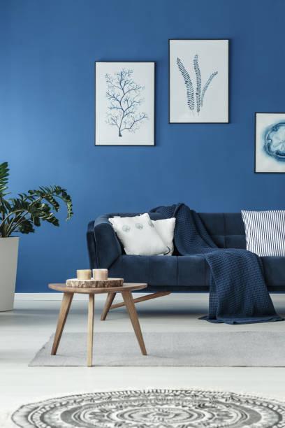 Sofa with blanket stock photo