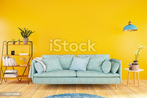 Sofa with Orange Wall. 3D Render