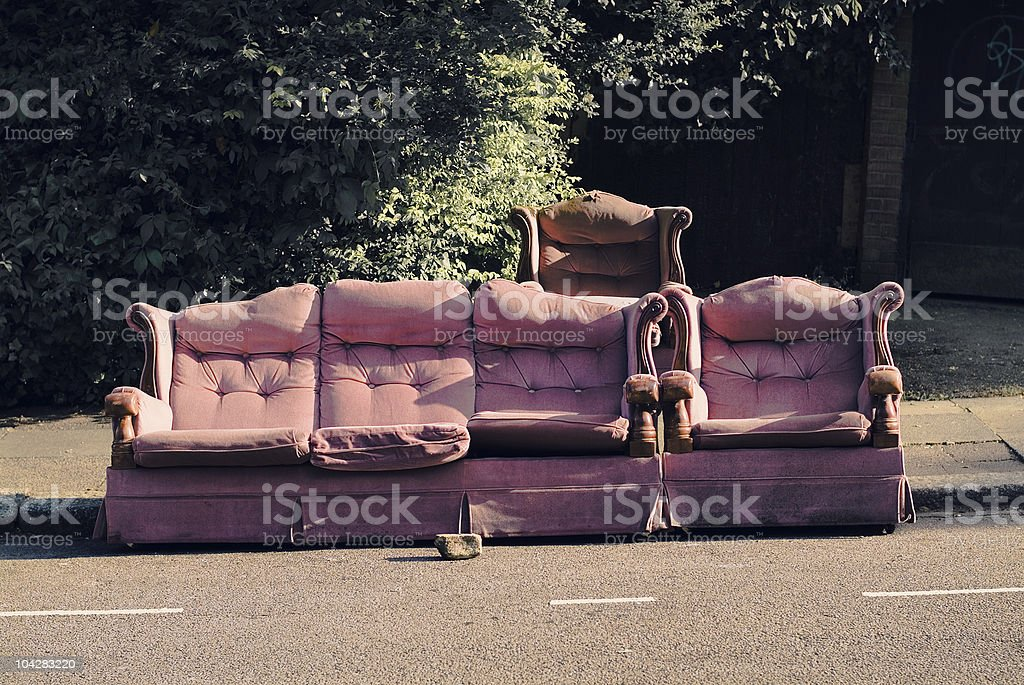 Sofas abandoned in North London stock photo