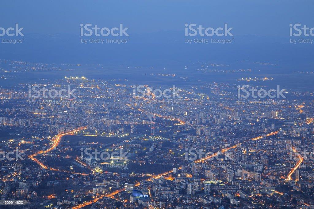 Sofia at dusk stock photo