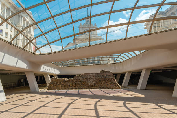Sofia, Bulgaria - 10.13.2018 : Ancient Serdika, a modern building preserving the historical ruins of the Roman city stock photo
