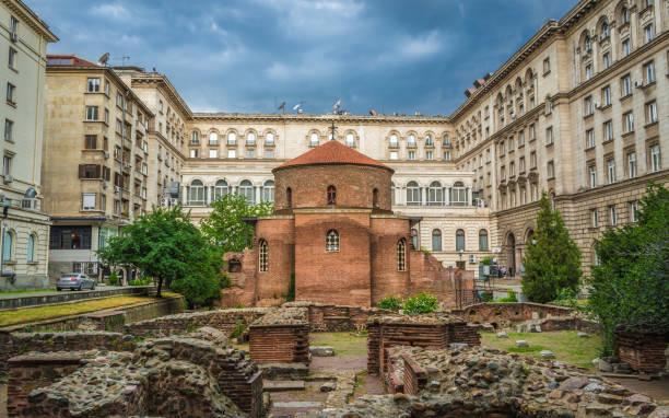 Sofia, Bulgaria - 10.13.2018 : St George Rotunda Church Among The Ruins of The Ancient Town of Serdika stock photo