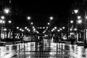 Sofia, Bulgaria, February 20, 2013: The lighted Vitosha Boulevard in Sofia, Bulgaria during the night after rain