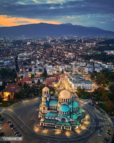 Aerial view of downtown Sofia, Bulgaria