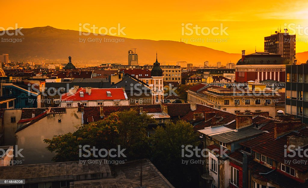 Sofia Bulgaria Sunset City View stock photo